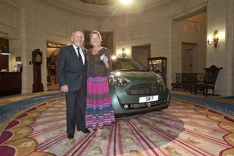 Sir Stirling Moss buys an Aston Martin Cygnet